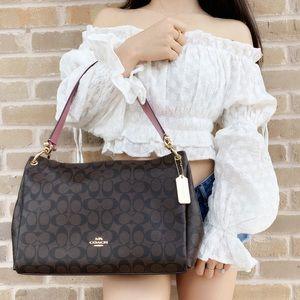 Coach Large brown shoulder bag Pink Strap